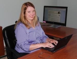 Kate at Laptop